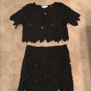 Black lace skirt set
